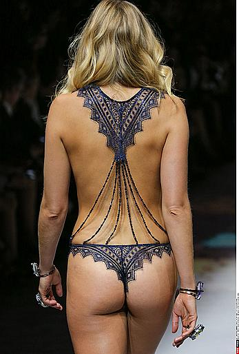Eniko Mihalik nude boobs under see through top at Etam Fashion Show