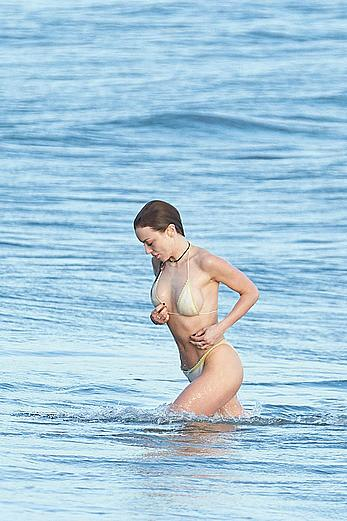 Francesca Eastwood topless on the beach in Malibu