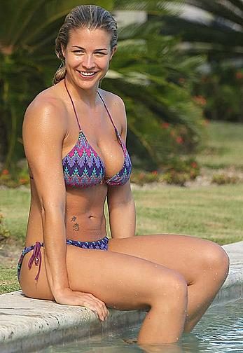 Gemma Atkinson wearing a bikini in the Dominican Republic