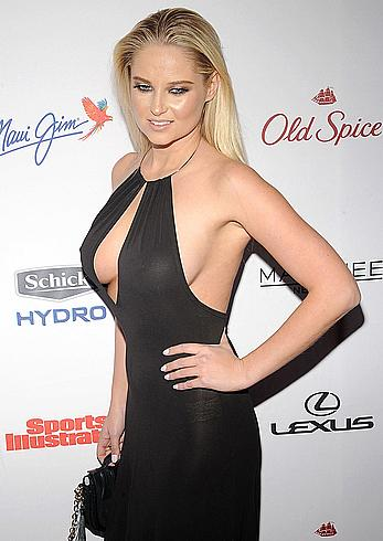 Genevieve Morton nude boobs under see through dress