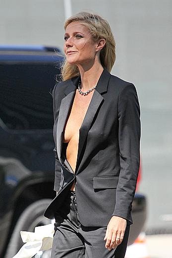 Gwyneth Paltrow without bra under Hugo Boss jacket