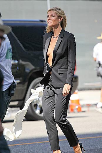 Gwyneth Paltrow without bra under Hugo Boss jacket