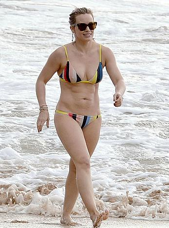 Hilary Duff wearing a bikini at a beach in Maui