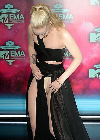Iggy Azalea wardrobe malfunction at MTV Europe Music Awards 2013 in Amsterdam