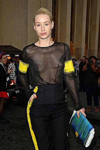 Iggy Azalea in see through top at Maison Martin Margiela fashion show in Paris