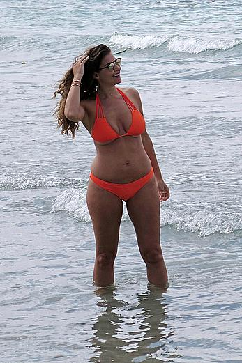 Imogen Thomas in orange bikini in Mallorca