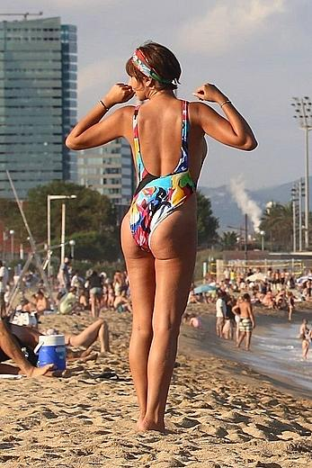 Jackie Cruz round ass and sideboob on a beach