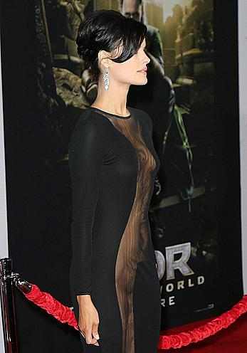 Jaimie Alexander no bra and pants under see through dress at Thor The Dark World premiere