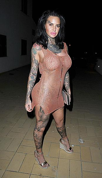 Jemma Lucy nude boobs unders see through dress on holiday in Portugal