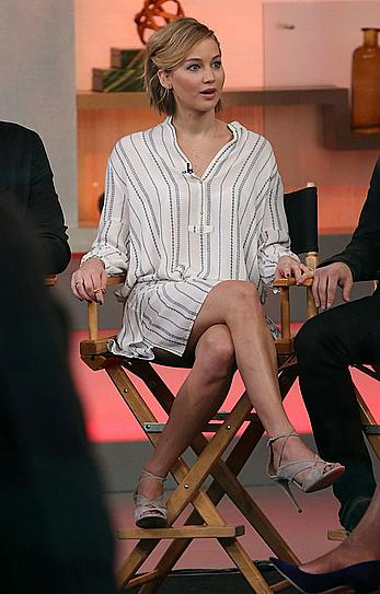 Jennifer Lawrence shows her sexy legs at Good Morning America