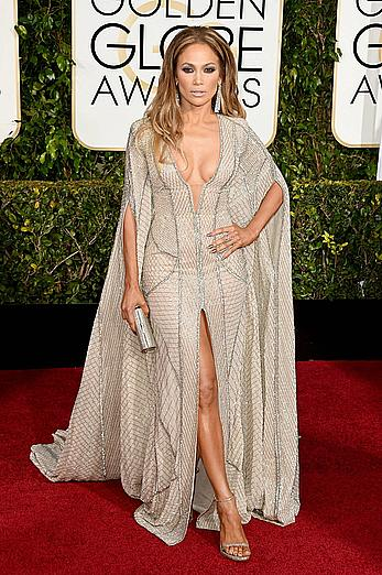Jennifer Lopez llegs and sexy cleavage at 72nd Annual Golden Globe Awards