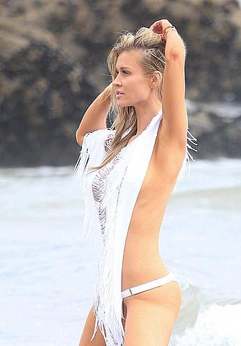 Joanna Krupa nipple slip at a photoshoot on the beach in Malibu