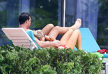 Joanna Krupa caught topless at a Pool in Miami
