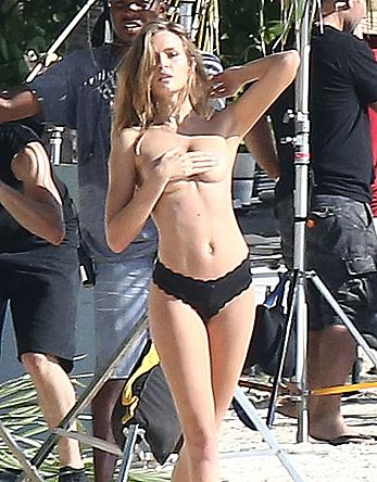 Josephine Skriver topless for a VS photoshoot at Miami beach