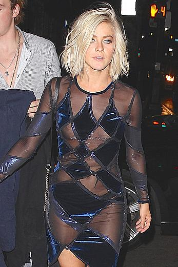 Julianna Hough nipple skip under see through dress