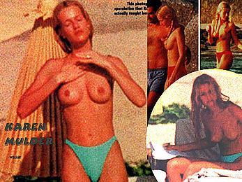 Karen Mulder caught topless on a beach