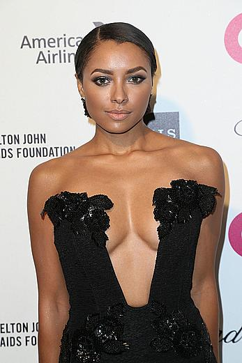 Kat Graham cleavage at 23rd Annual Elton John AIDS Foundation Academy Awards party