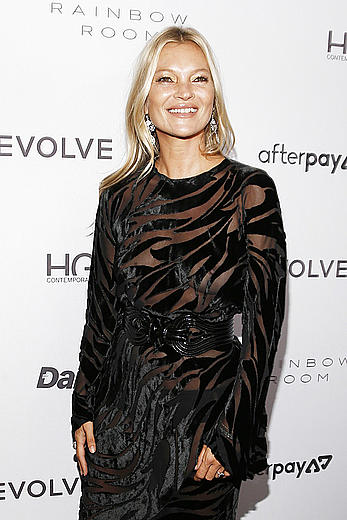 Kate Moss braless in see through dress at The Daily Front Row Fashion Media Awards