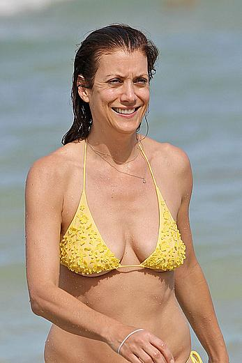 Kate Walsh sexy in yellow bikini in Miami