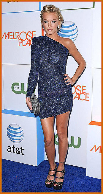 Katie Cassidy posing in short see through dress