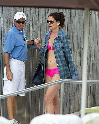 Katie Holmes in pink bikini at a pool in Miami