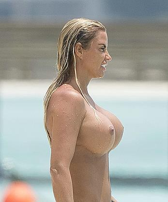Busty Katie Price AKA Jordan sunbathing topless on vacationing in the Maldives