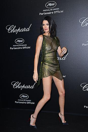 Kendall Jenner nude tits under see through dress at Secret Chopard party at the 71st Cannes Film Festival in Cannes