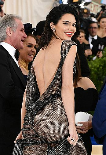 Kendall Jenner ass under see through dress at the 2017 MET Gala