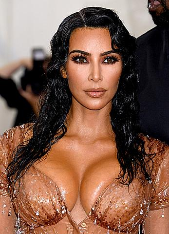 Kim Kardashian deep cleavage at 2019 Met Gala in New York City