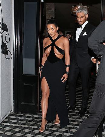 Kim Kardashian almost topless leaving Craig's Restaurant