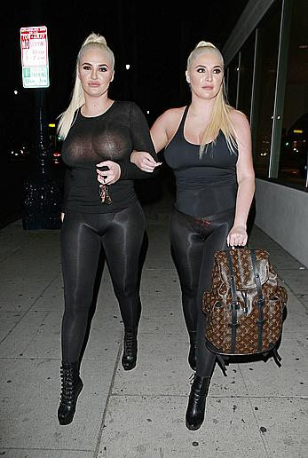 Kristina and Karissa Shannon in see though outfit closed the Glam Hair Salon