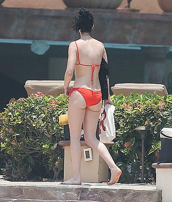 Krysten Ritter in red bikini on a beach in Mexico