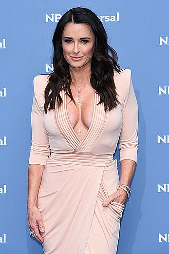 Kyle Richards cleavage in pink dress at NBCUniversal Upfront presentation
