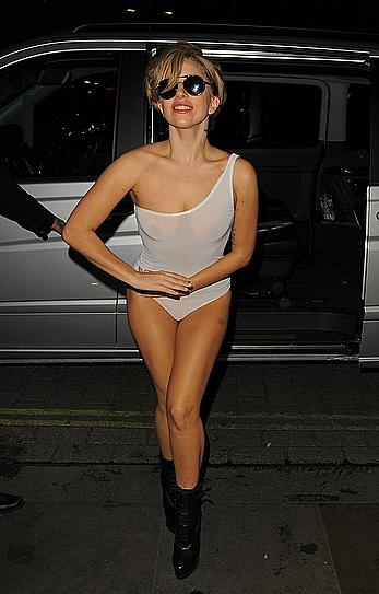 Lady Gaga nude boobs under white, see through bodysuit