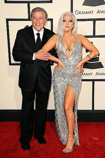 Lady Gaga sexy cleavage at The 57th Annual GRAMMY Awards