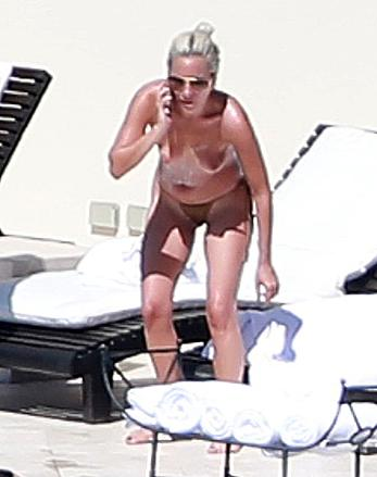 Lady Gaga topless on a beach in Mexico