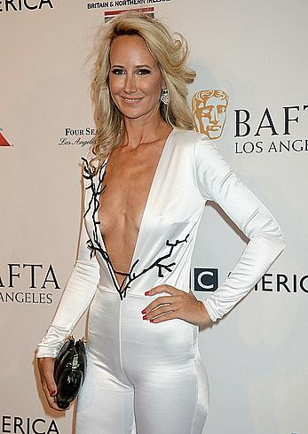 Lady Victoria Hervey in low cut suit at the BAFTA Tea Party at The Four Seasons