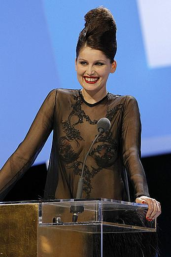 Laetitia Casta topless under fully transparent dress at 35th Cesar Film Awards In Paris