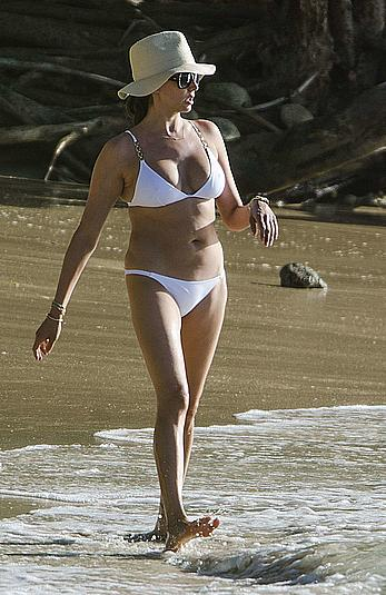 Lauren Silverman in white bikini in Barbados