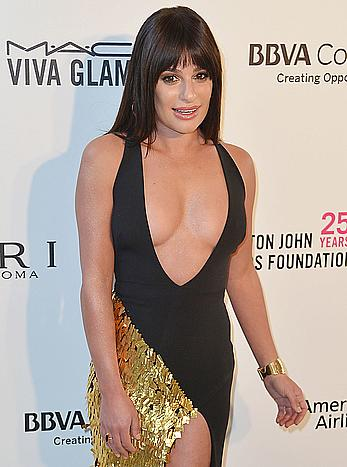 Lea Michele nipple slip at 26th Annual Elton John AIDS Foundation Oscars Viewing Party