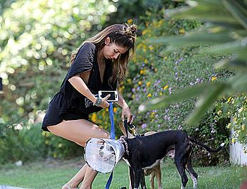 Leilani Dowding tit slip in Hollywood Hills