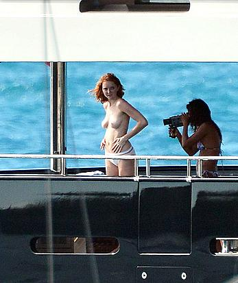 Lily Cole topless on a yacht in St. Barts