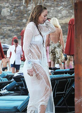Lindsay Lohan in white bikini on the beach in Greece