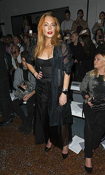 Lindsay Lohan nipple slip at the Gareth Pugh show at London Fashion Week
