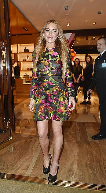 Lindsay Lohan in see through dress at the Louis Vuitton summer party in London