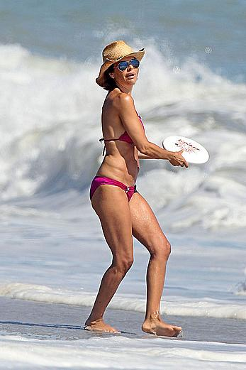 Lisa Rinna hard nipples under pink bikini in Malibu