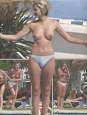 Lisa Faulkner caught topless on a beach