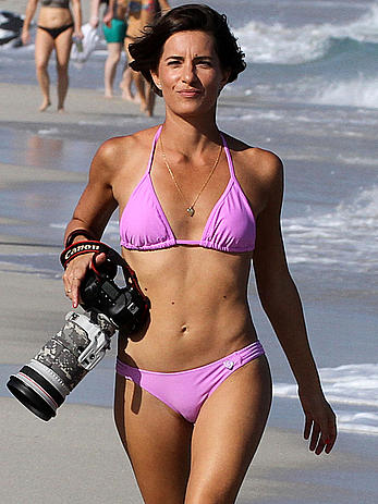 Logan Fazio in a purple bikini on Miami beach