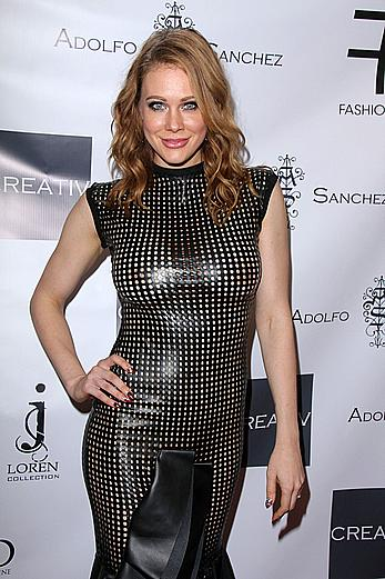 Maitland Ward nude boobs and ass under semi-transparent dress at the Adolfo Sanchez Fashion Show in West Hollywood