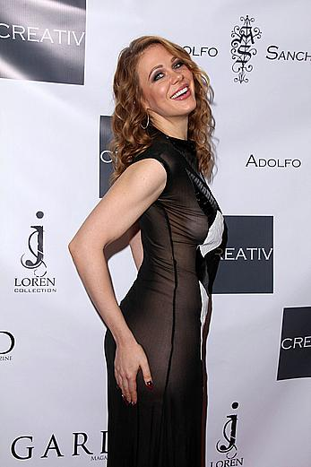 Maitland Ward exposed her great nude ass throught transparent dress at the Adolfo Sanchez Fashion Show